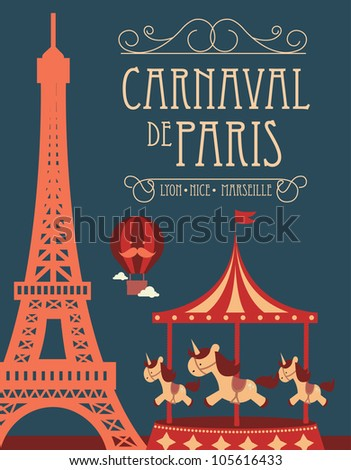 carnival in paris fun fair template vector illustration