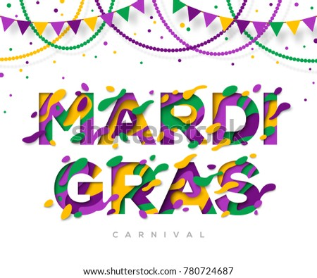 Carnival Mardi Gras greeting card with typography design and abstract paper cut shapes. Vector illustration. Colorful 3D carving art. Beads and garlands