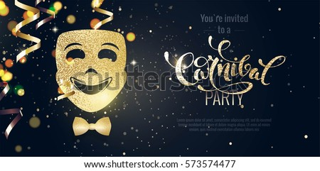 Carnival Mask, Streamers And Confetti For Festive Background. Party Background with lights and serpentine. Vector illustration