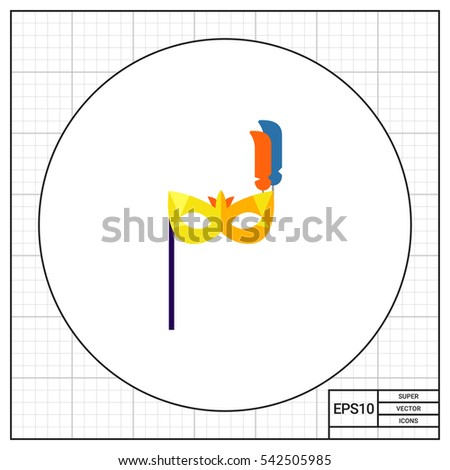 Stock Photo Carnival Mask with Handle Icon