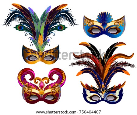 carnival masks icons set with