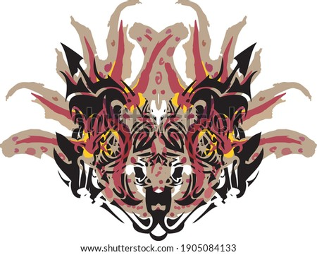 Carnival ornate cat or tiger mask. Unusual ornate mask isolated on white background for holidays, prints, textiles, posters, etc.