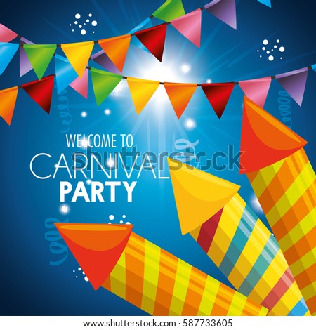 carnival party fireworks card #587733605