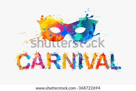 Stock Photo CARNIVAL. Rainbow splash paint word