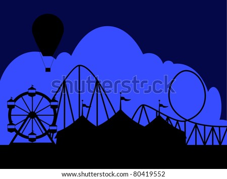 Carnival scene at night with a circus tent Ferris wheel roller coaster and hot air balloon.  Ideal for carnival signs