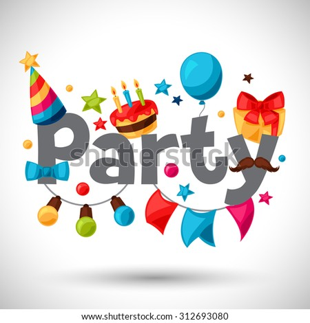 Carnival show and party greeting card with celebration objects.