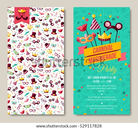 Carnival two sides poster, flyer or invitation. Vector illustration. Funfair funny tickets design with pattern and emblem. Place for your text message.