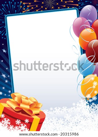 Carnival winter decoration with copy space, balloons and present