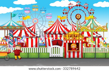 stock vector carnival with many rides and shops illustration 332789642 - Каталог — Фотообои «Для детской»