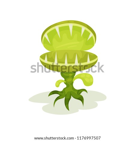 Carnivore plant with teeth, fantastic malicious green plant vector Illustration on a white background