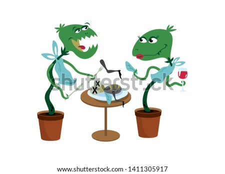 Carnivorous Plant cartoon character. Funny Carnivorous Plants vector. Couple of Carnivorous Plants vector illustration. Carnivorous Plant isolated on a white background