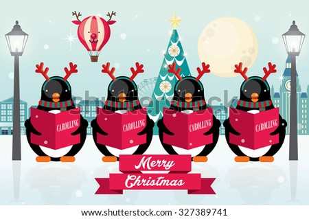 carolers  penguins christmas