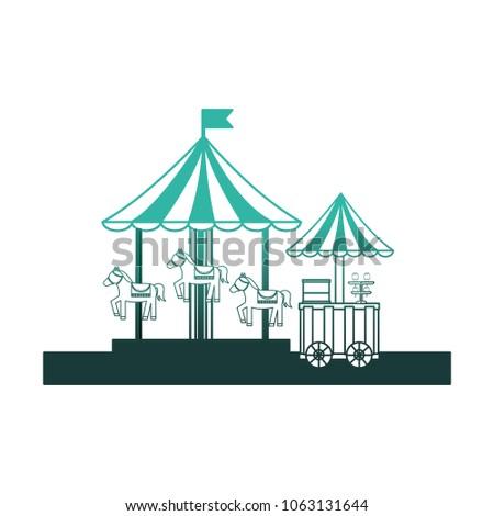 carousel carnival with ice cream shop kiosk