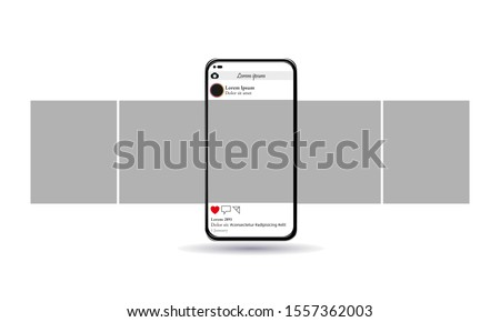 Carousel post, new popular smartphone, vector illustration