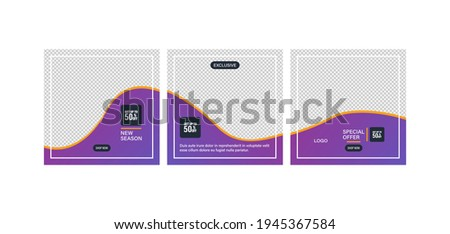 Carousel post on social network. Interface in popular social networks. Set of sale banner template design. Mockup for social media post and web ad. Vector illustration.