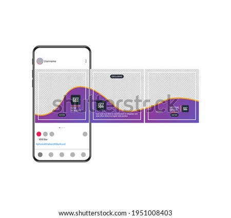 Carousel post on social network. Photo frame. Interface in popular social networks. Set of sale banner template design. Mockup for social media post and web ad. Vector illustration.