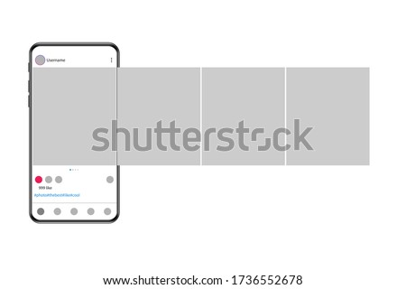 Carousel post on social network. Photo frame. Interface in popular social networks. Vector illustration.
