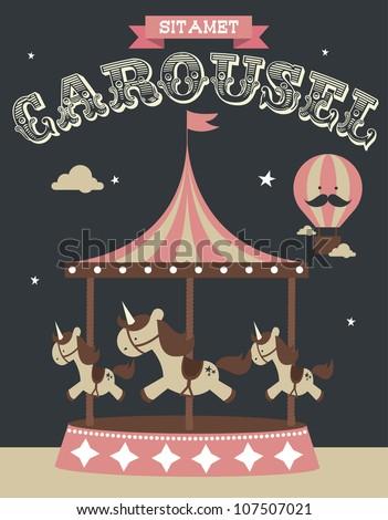 carousel poster template vector/illustration