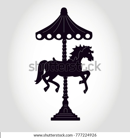 carousel with horse black  ...