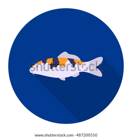 carp koi fish icon flat singe