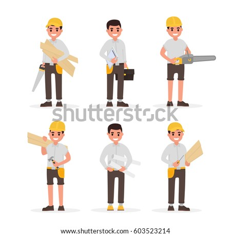 Carpenter, foreman, engineer, joiner and woodworker elements collection with various people actions. Vector illustration in flat style