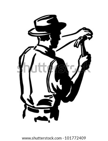 Carpenter Hammering Nail - Retro Clipart Illustration