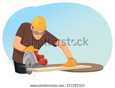 Carpenter in helmet and protective eye-wear is cutting a wooden plank by the circular saw
