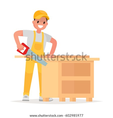 Carpenter makes a product from a tree. Man in work clothes saws a board with a hand saw. Vector illustration in a flat style