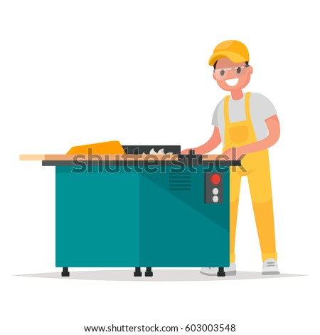 Carpenter makes the product on the woodworking machine. Vector illustration in a flat style