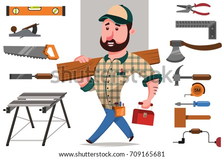 Carpenter with a log and a set of tools for woodworking and repair: hammer, saw, axe, etc. Vector cartoon character of a craftsman.