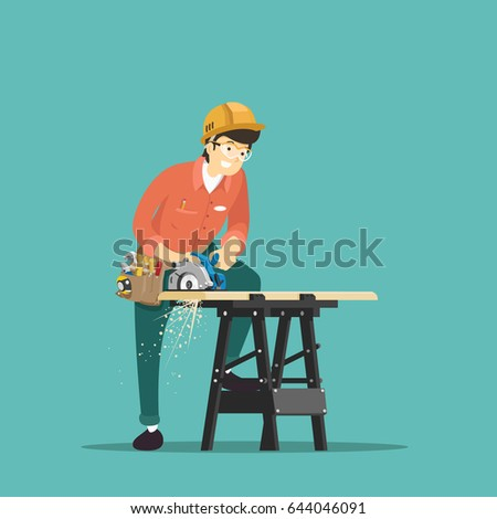 Carpenter with electric saw. Vector illustration.