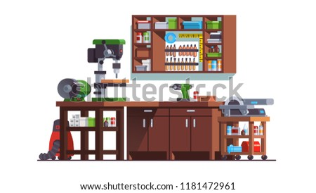 Carpenter woodwork workshop interior with table drilling machine, grinding wheel, work bench, circular saw, drill, cabinets, shelves. Joiner shop furniture, equipment, tools. Flat vector illustration