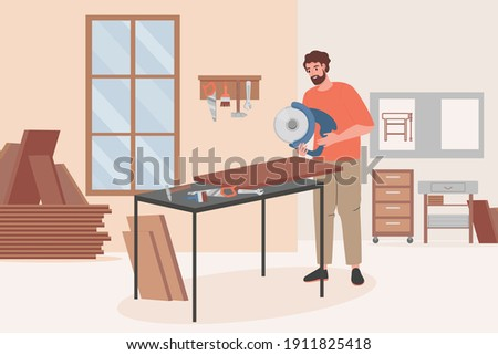 Carpenter worker doing woodwork on furniture workshop vector flat illustration. Man holding circular saw and sawing wooden plank for making wooden furniture. Wood furniture workshop interior design.