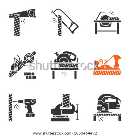 Carpentry glyph icons set. Silhouette symbols. Woodworking. Hand saw, hacksaw, circular saws, chainsaw, jack plane, electric screwdriver, bench vice, jigsaw. Vector isolated illustration
