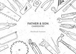 Carpentry Hand Tools frame vector illustration. Hand Tools hand drawn. Hand Tools set for carpenty design top view. Vintage engraved illustration for carpenty. Vector illustration