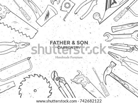 Carpentry Hand Tools Frame Vector Illustration Drawn Set For