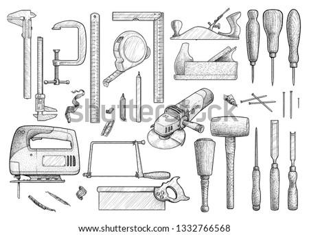 Carpentry, industrial tool, illustration, drawing, engraving, ink, line art, vector