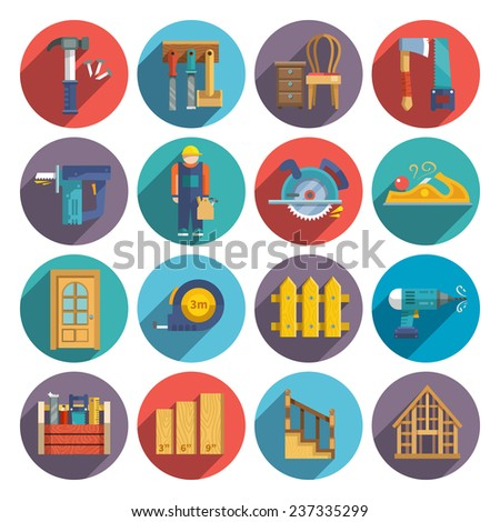 Carpentry industry equipment icons flat set with toolbox furniture wood fence isolated vector illustration