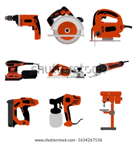 Carpentry tools.Electrician tools.Set of tools of a joiner and repairman. Devices for construction and mechanics. Vector illustration in cartoon style..