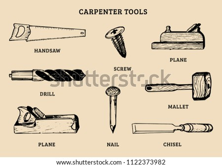 Carpentry Tools Vector Hand Drawn Set Illustration Of Wood Works Equipment Elements