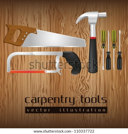 carpentry tools, with a pipe wrenches, hammer, hacksaw, screwdrivers, hand saw and tool box, vector illustration