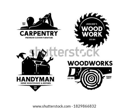Carpentry woodworks handyman labels set. Hand drawn trendy design elements for prints, emblems, logo, posters. Vector vintage illustration. Stock photo ©