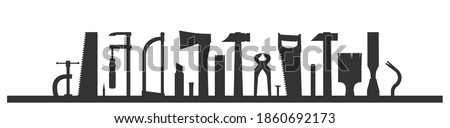 Carpentry works. Silhouette. Any kind of repair. Handyman services logo. A carpenter. Universal workshop hand tools. Home repairs. Shop of joinery. Wood foreman. Isolated. Photo stock ©