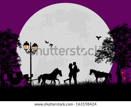 Carriage and lovers at night on beautiful landscape, vector illustration - Shutterstock ID 163198424
