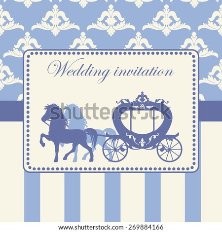 Carriage pulled by two horses. Vector illustration of brougham in baroque style. Variant of design of your wedding card, wedding invitation