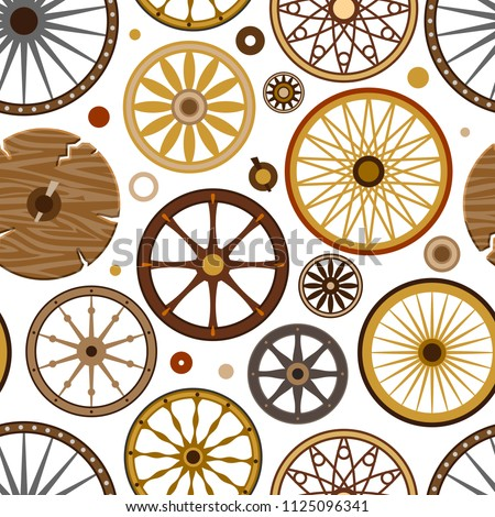 Carriage vector vintage transport old wheels and antique transportation illustration set of royal coach and chariot or wagon for traveling seamless pattern background