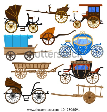 Carriage vector vintage transport with old wheels and antique transportation illustration set of royal coach and chariot or wagon for traveling isolated on white background