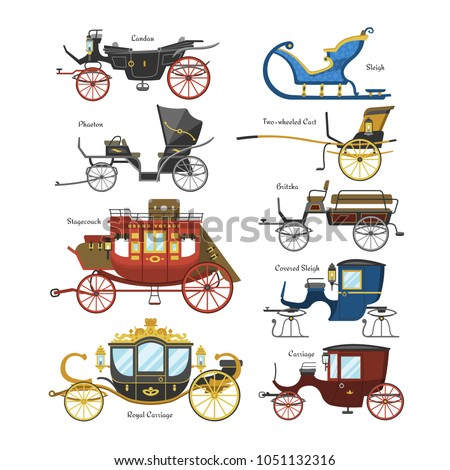 stock-vector-carriage-vector-vintage-transport-with-old-wheels-and-antique-transportation-illustration-set-of