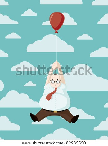 Carried Away. This is a vector illustration of a chubby guy being carried away by a single red balloon.