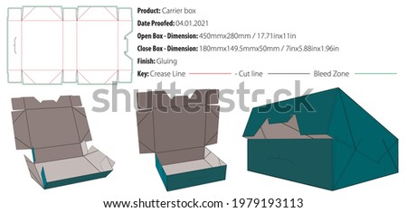 Carrier box packaging design template for any kind of product gluing die cut - vector Сток-фото ©